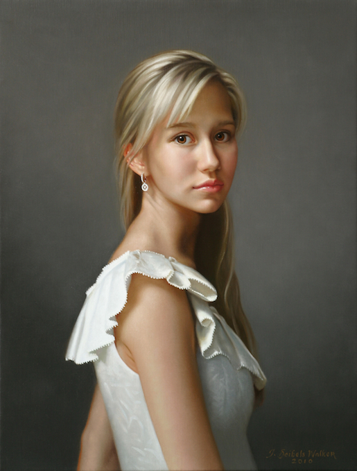 Girl with the Diamond Earring Oil on linen, 26 x 20 inches