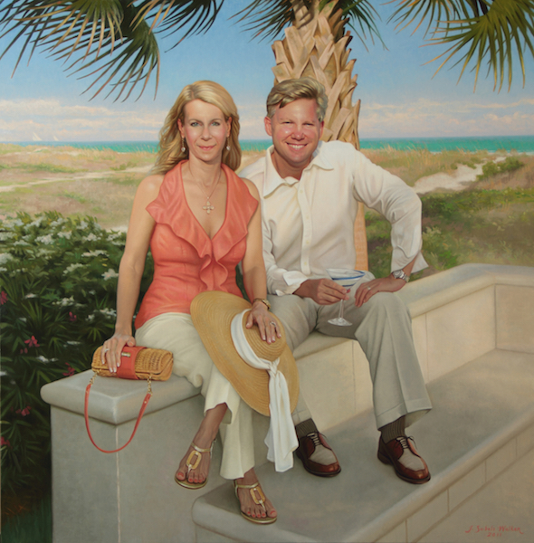 Happy Hour at the Beach House Oil on linen, 46 x 44 inches