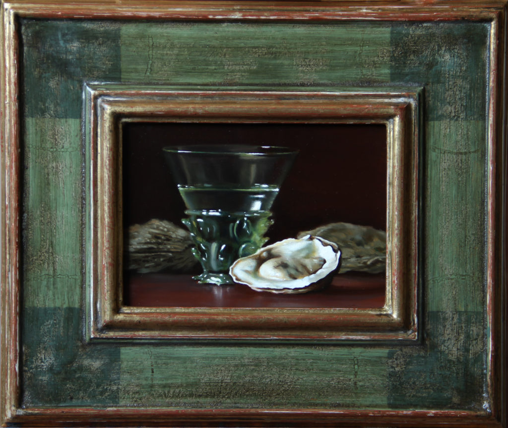 Oysters and Green Glass Oil on panel, 5 x 7 inches SOLD