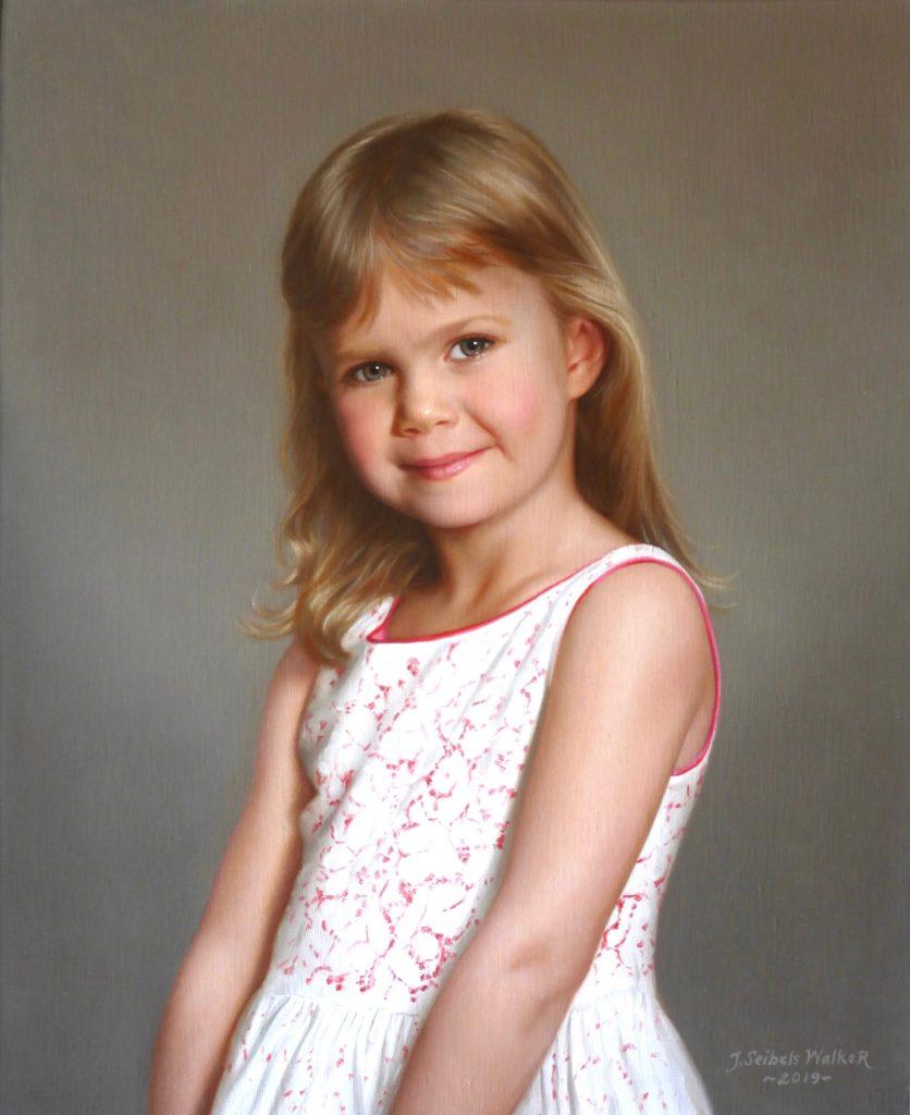 "Samantha Oil on linen, 22 x 18 inches <a href=""http://johnseibelswalker.com/awards"">Award</a>"